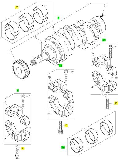 珀金斯Perkins 发动机400D配件115256970曲轴总成(400D)