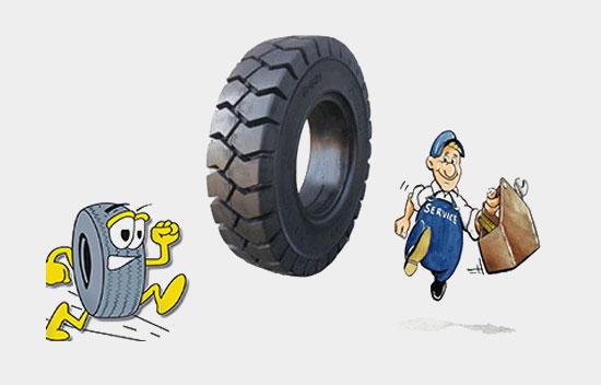 厦门叉车丨为什么要使用实心轮胎?
