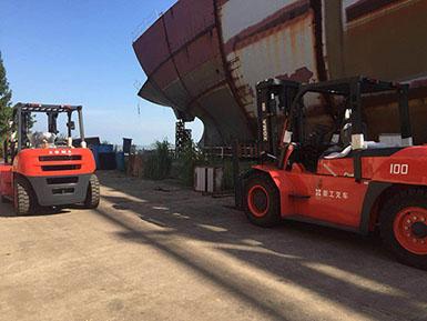 厦工5.0T叉车、10T叉车各一台顺利交车于马尾船厂