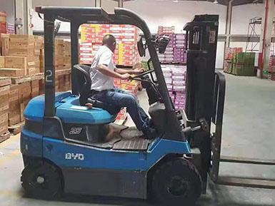 厦门某食品批发公司租赁比亚迪新能源电动叉车